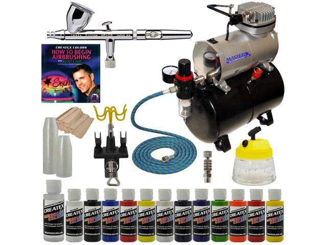 Iwata HP-CS Eclipse Airbrush System Kit Compressor Createx Paint Set Accessories