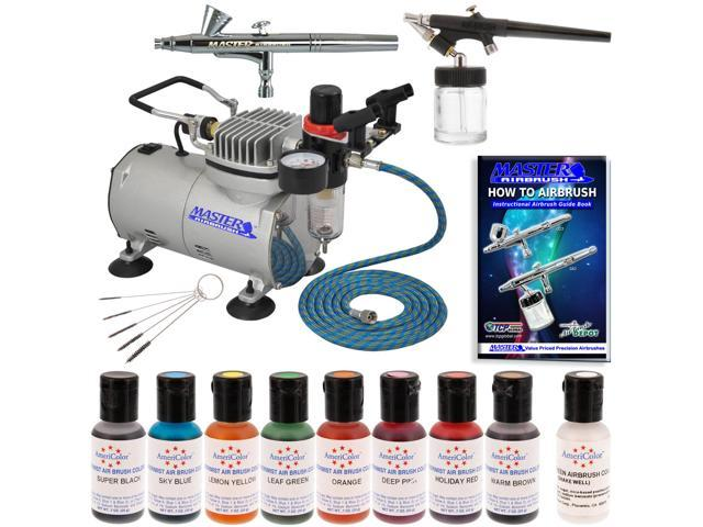 2 AIRBRUSH CAKE DECORATING KIT Compressor 8 Color Americolor Food ...