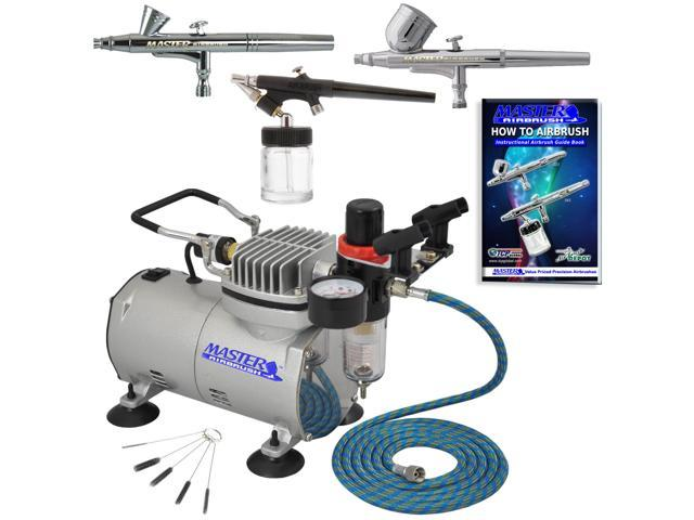 New 3 Airbrush & Compressor Kit Dual-Action Spray Air Brush Set Tattoo Nail Art