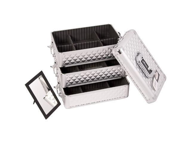 INTERCHANGEABLE STACKABLE TRAY PROFESSIONAL ALUMINUM COSMETIC MAKEUP CASE WITH DIVIDERS - E3303 - SILVER, ZEBRA, PINK, CROCODILE, ALL BLACK, DIAMOND