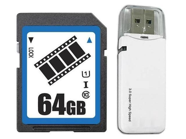 FilmPro 64GB SD SDHC 64GB SDXC Card Class 10 Ultra High Speed UHS-I for Camera & Camcorder with USB 3.0 Card Reader