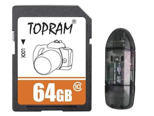 TOPRAM 64GB 64G SD SDHC SDXC Card Class 10 Extreme Speed for Camera & Camcorder with R1 Reader
