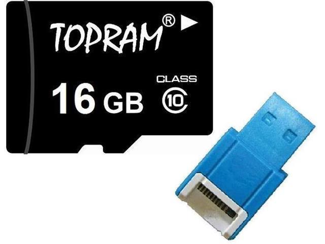 TOPRAM 16GB 16G microSD microSDHC micro SD Class 10 C10 Memory Card + R10b USB Reader