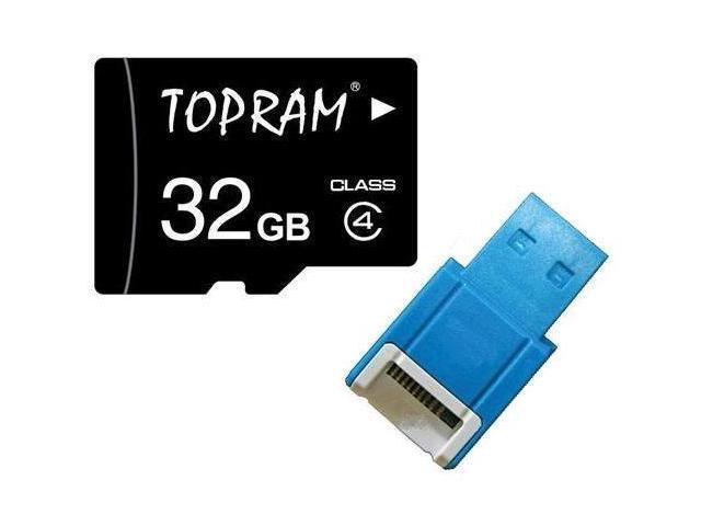 TOPRAM 32GB 32G microSD microSDHC micro SD Class 4 C4 Memory Card +R10b Reader