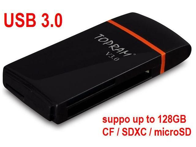 TOPRAM RV35 - USB 3.0 CF CompactFlash SD SDHC SDXC microSD microSDHC microSDXC micro TF Card Reader support Samsung Kingston SanDisk Memory card up to 128GB