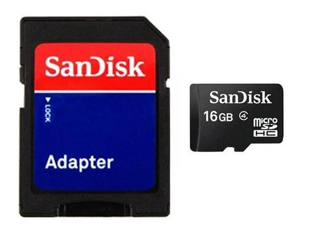 SanDisk 16GB 16G microSD microSDHC Class 4 with SD adapter Bulk - OEM