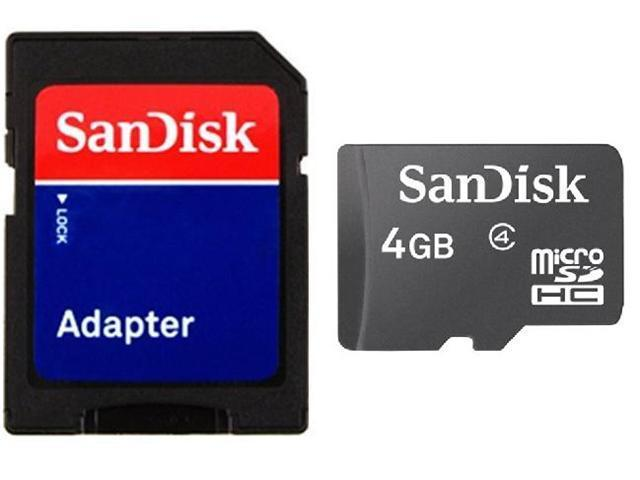 SanDisk 4GB 4G microSD microSDHC Card Class 4 with SD Adapter Bulk Package - OEM