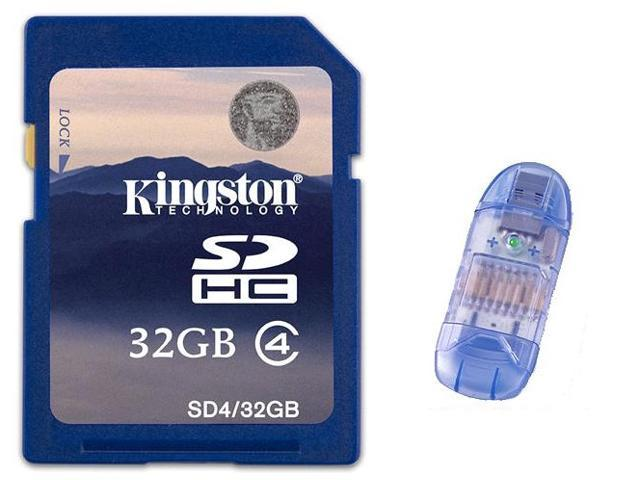 Kingston 32GB 32G SD SDHC Secure Digital High-Capacity Flash Card Class 4 with USB 2.0 card reader