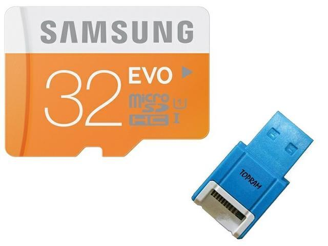 Samsung EVO 32GB 32G microSD microSDHC SD SDHC Card Class 10 UHS-I with oem SD Adapter & oem USB 2.0 Reader