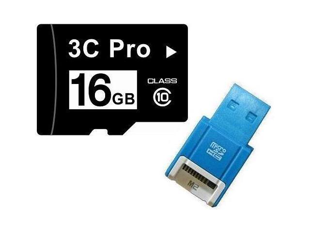 3C Pro 16GB 16G microSD microSDHC micro SD Class 10 C10 Memory Card + R10b USB Reader