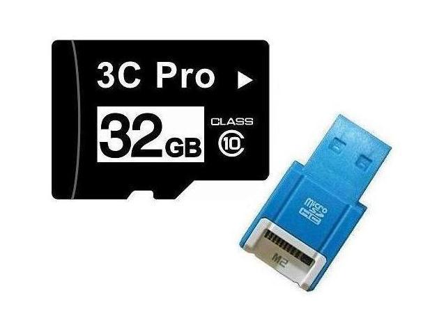 3C Pro 32GB 32G microSD microSDHC micro SD Class 10 C10 Memory Card +R10b Reader