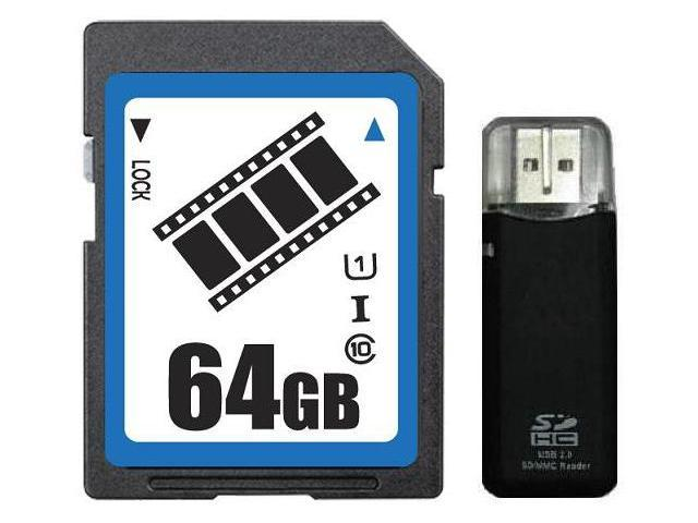 FilmPro 64GB SDXC 64GB SDHC SD Card Class 10 Ultra High Speed UHS-I with R3 Reader