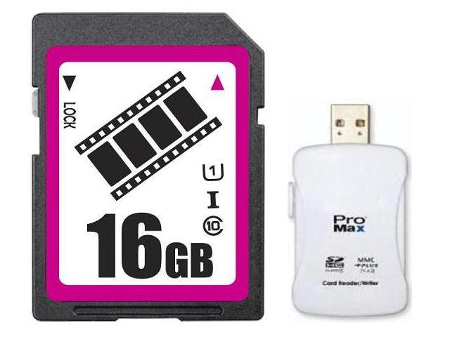 FilmPro 16GB SDHC SD Card Class 10 Ultra High Speed UHS-I for Camera & Camcorder with R16 Reader