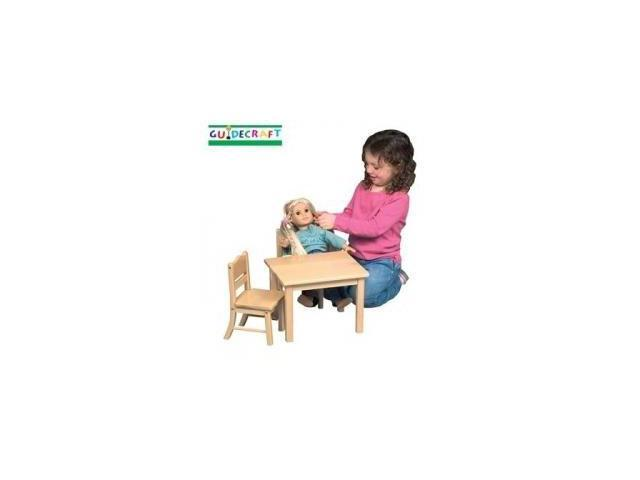 Guidecraft Doll Table and Chair Set - Natural Design: Natural