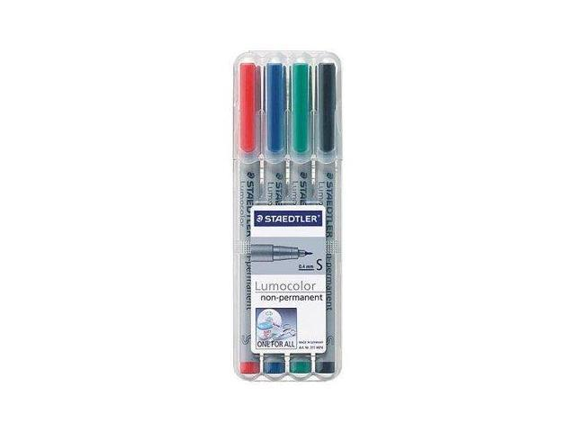 Staedtler Lumocolor Non-Permanent Overhead Projection Markers assorted colors superfine 0.4 mm set of 4