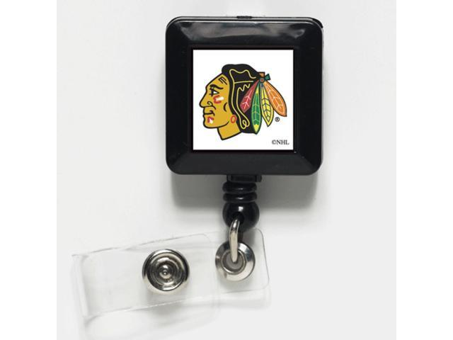 Chicago Blackhawks Official NHL 1 inch  x 1 inch  Retractable Badge Holder Key Chain Keychain by Wincraft