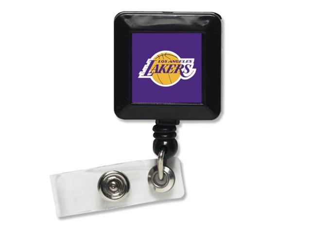 Los Angeles Lakers Official NBA 1 inch  x 1 inch  Retractable Badge Holder Key Chain Keychain by Wincraft