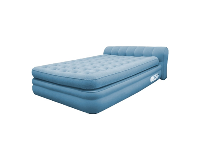 Aerobed 76322 Elevated Headboard Blue Inflatable Air Bed Mattress, Full Size