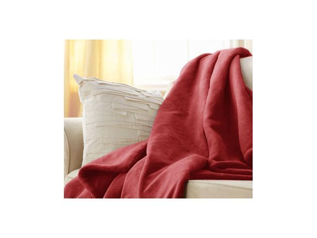 Sunbeam Microplush Electric Heated Throw Blanket (3 Settings) - Garnet Red