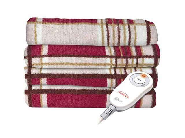 Sunbeam Microplush Electric Heated Throw Blanket Mont Plaid / Garnet