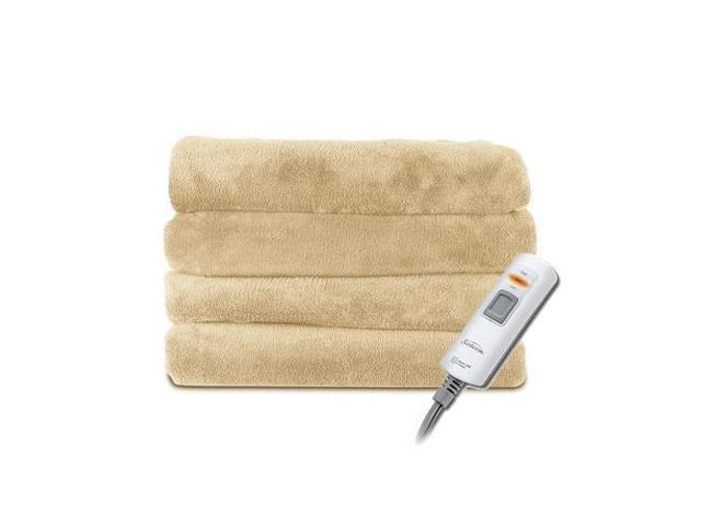 Sunbeam Cozy Cuddler 2-Person Oversized Microplush Electric Heated Throw Blanket, Sand Tan