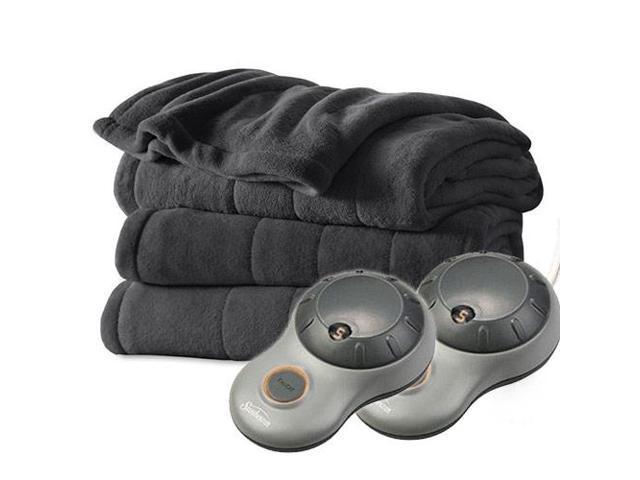 Sunbeam Heated Electric Blanket Channeled Microplush (Queen Size) - Slate Grey