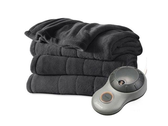 Sunbeam Heated Electric Blanket Channeled Microplush (Full Size) - Slate Grey