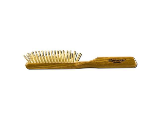 Ambassador Hairbrushes, Olivewood Rectangle Wooden Pins 5118 1 Hairbrush