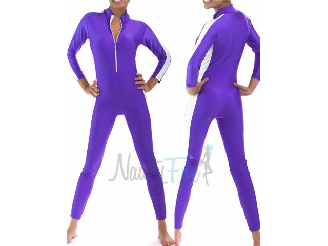 Purple & White Stripe Zip-Front Unitard