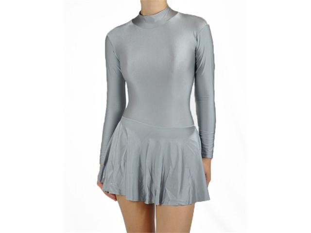 Gray Spandex Ice Skating  Dress