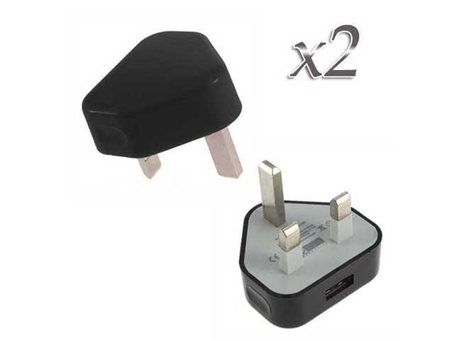 2 pcs UK Plug USB Port Power Adapter Wall Charger - Generic