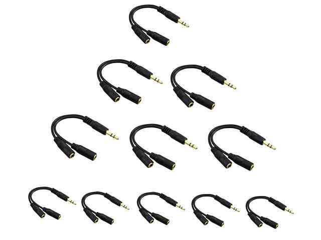 10 Pack - 3.5mm Earphone Headphone Y Splitter Audio Splitting Cable- Universal- Black Color