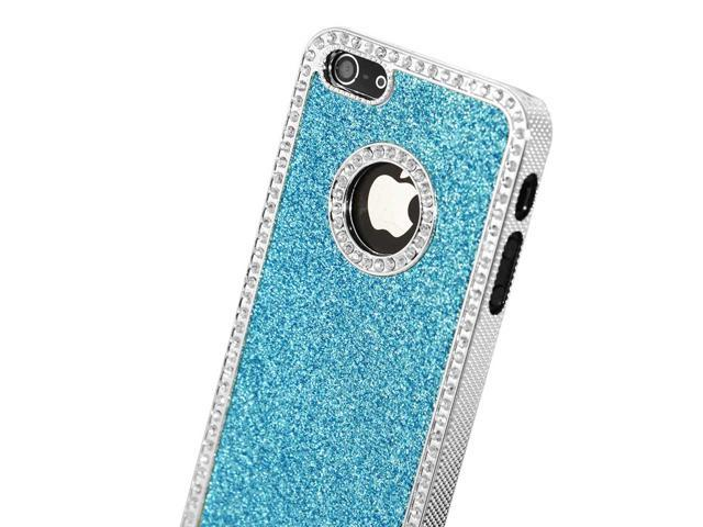 Newest Apple® iPhone® 5S / 5 Luxury Bling Glitter Chrome Crystal Rhinestones Hard Back Case Cover - AT&T / Verizon