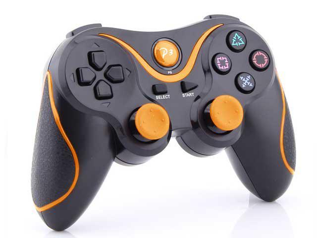 2 X Sony Playstation 3 PS3 -  Wireless Doubleshock Bluetooth Game Pad USB Controller - Black w/ Orange Stripe - (Generic)