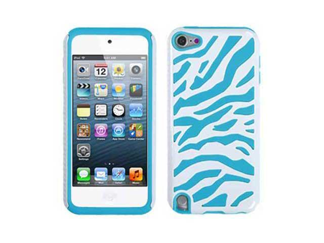 For Apple iPod Touch 5 5G 5th Colorful Zebra Heavy Duty Hybrid Hard Case Cover - Blue & White