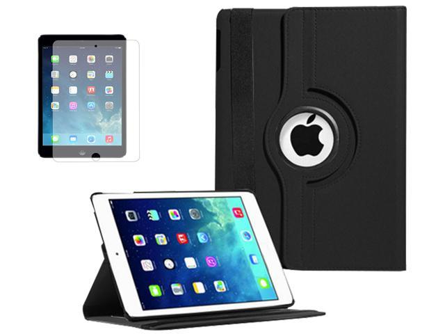 BLACK 360 Degree Rotating PU Leather Case Cover Swivel Stand for Apple iPad Air 5 5th - New (Case + Screen)