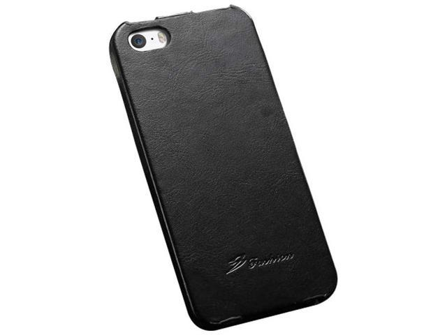 Premium Flip PU Leather Case for iPhone 5 5S Phone Bag Cover Luxury Retro Hot Selling with FASHION logo - Black