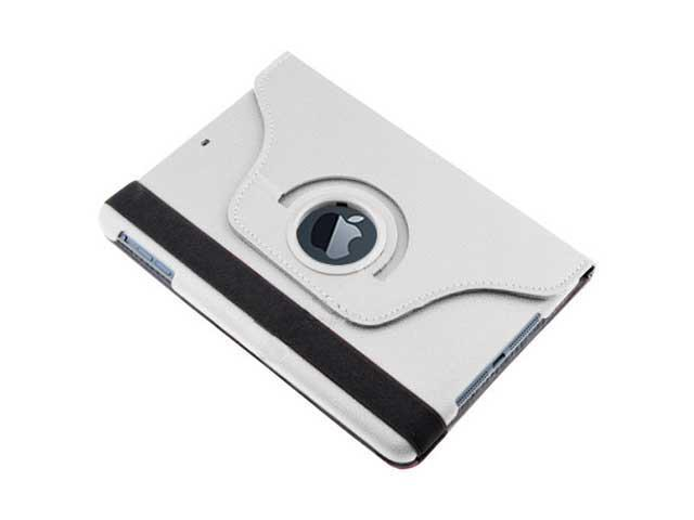 360 Swivel Stand Rotating Magnetic PU Leather Smart Case Cover Pouch Holder for Apple iPad Mini 7.9-Inches - White