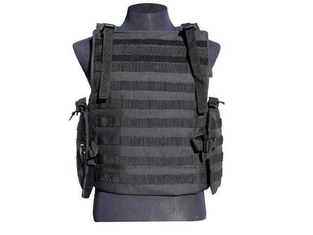 GXG Paintball Tactical Flak Jacket Modular Vest - Black + 11 Molle Attachments