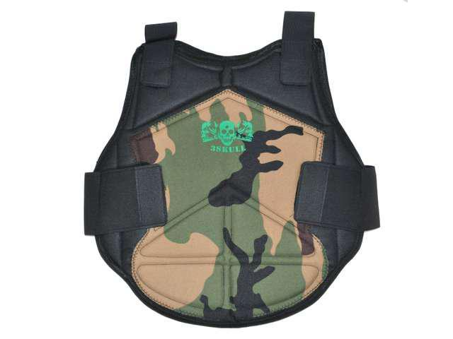 3Skull Paintball Flexible Armor Chest Protector - Woodland Camo - Small/Medium