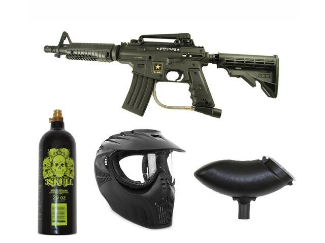 US Army Alpha Black Tactical Paintball Marker Gun 3Skull X-Ray Set - Black