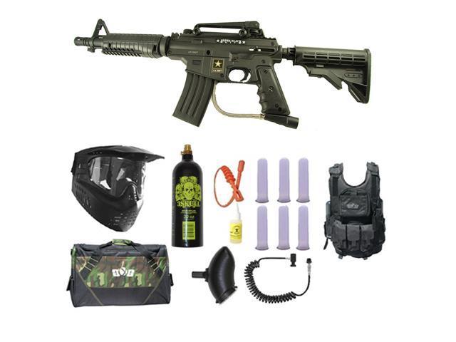US Army Alpha Black Tactical Paintball Marker Gun 3Skull Vest Sniper Set - Black