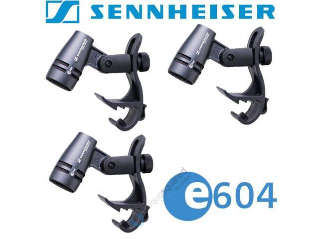 Sennheiser E604 Drum Microphone 3-Pack w/ Drum Rim Clips