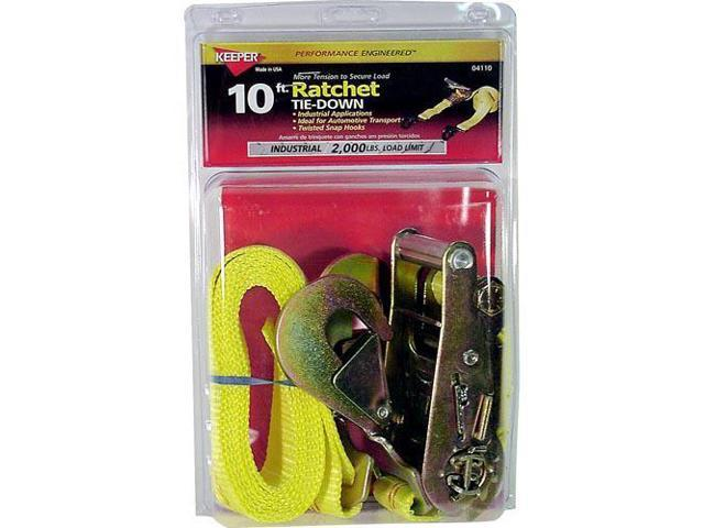 Keeper 04110 2in x 10ft Ratchet Tie-Down w/Twisted  Snap Hooks 2000 WLL