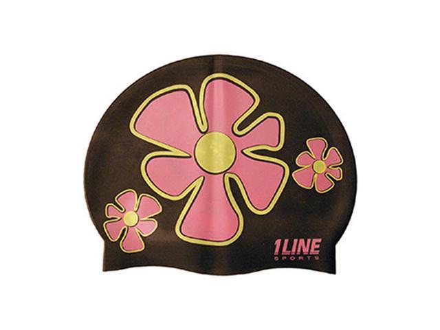 1Line Sports Flower Trio Silicone Swim Cap Black