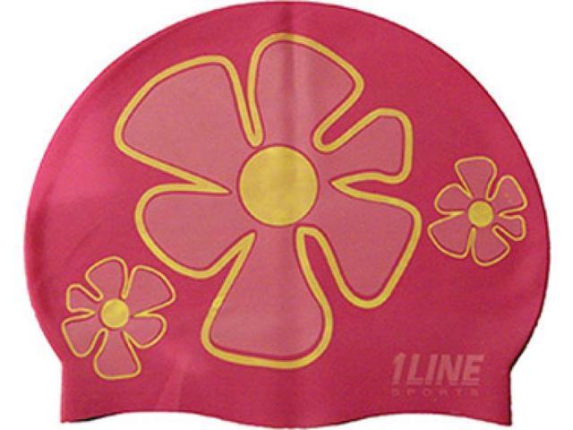 1Line Sports Flower Trio Silicone Swim Cap Pink