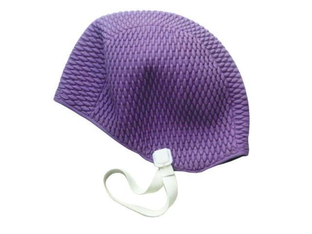 Water Gear Bubble Silicone Swim Cap Purple Medium