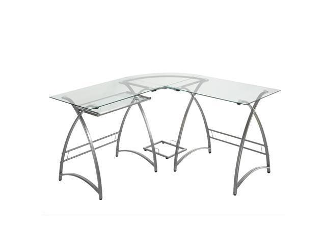 L-Shaped Glass Computer Desk - Clear/Silver