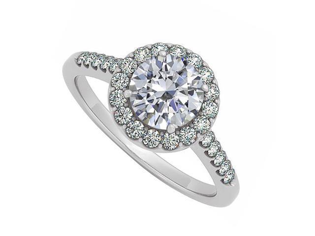 halo engagement ring prong set cubic zirconia 14k