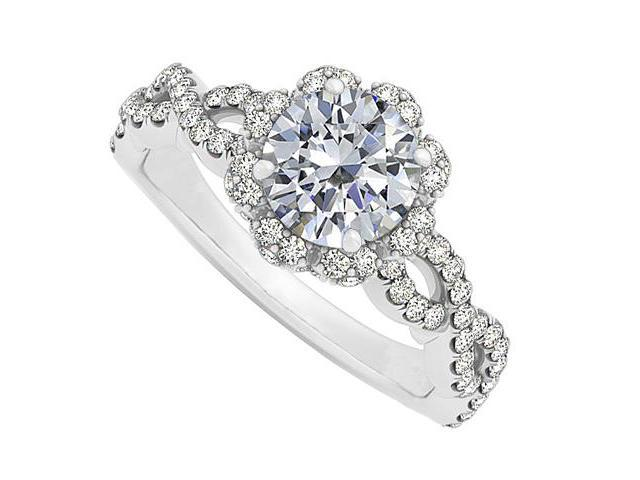 cubic zirconia criss cross shank halo engagement ring in